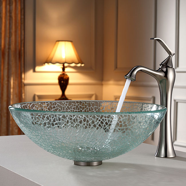 glass bowl sink stopper vessel sinks for bathrooms bathroom combo set broken faucet with vanity