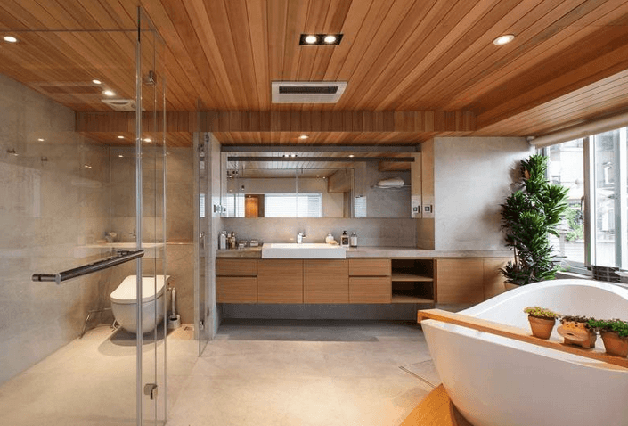 large modern bathroom with freestanding tub