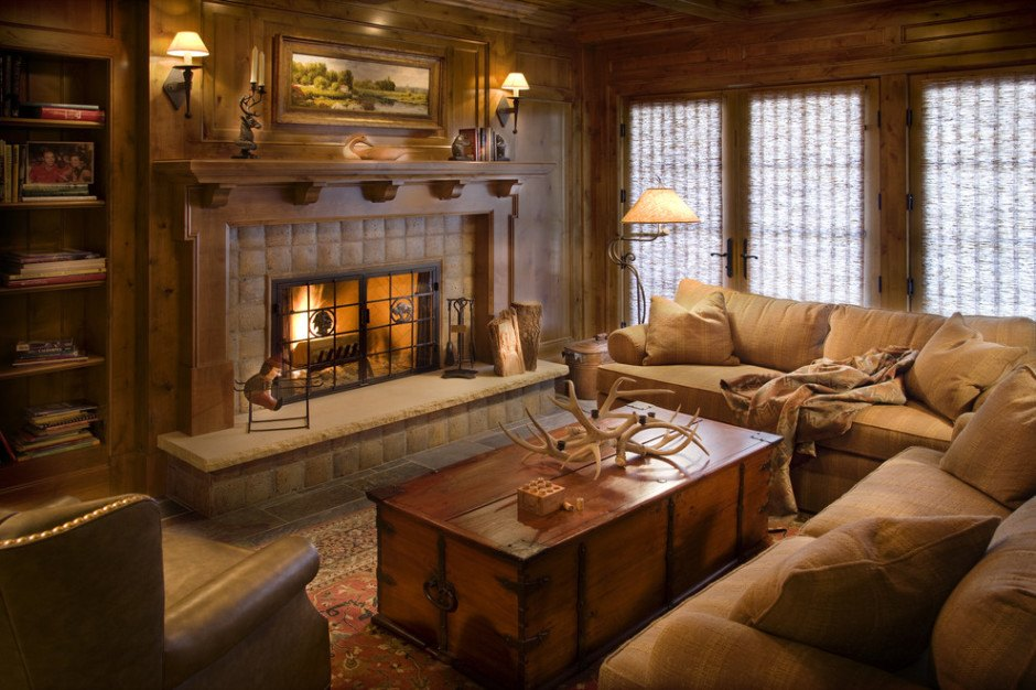 10 gorgeous cabin inspired living room ideas - Rustic apartment interior wrapped in contemporary and traditional accent ...